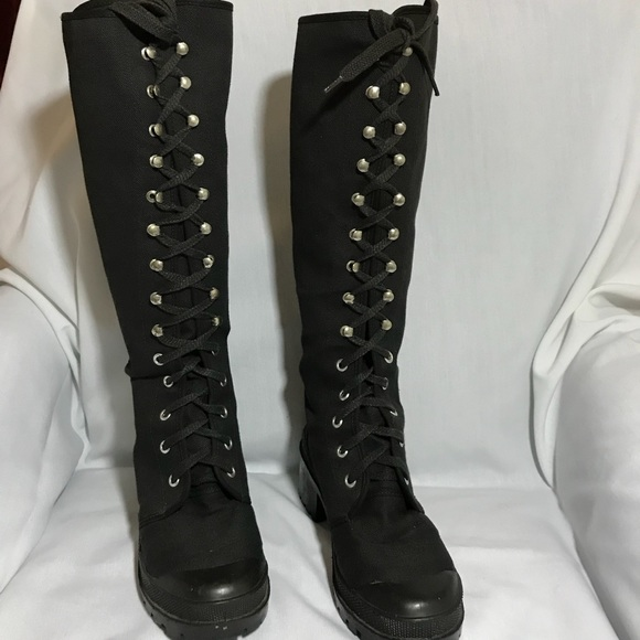 85b4c6a659c297 Jacqie Shoes - Black lace up knee high punk combat boots 39 9